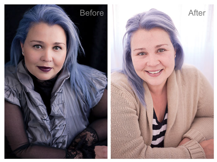 Reverse Before and after beauty photo shoot