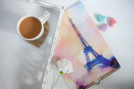 Paris Eiffel Tower Calendar with cup of tea